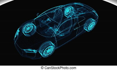 Abstract transparent modern car, 3d render computer generated background