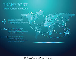 Abstract Transport with World map Background Vector Illustration