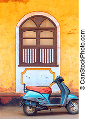 Abstract travel photo of wall and window