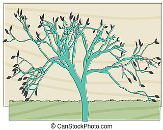 Single tree in field coloring in retro abstract offset printing style, vector illustration