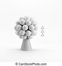 Abstract tree. Concept for business, social media, technology, network and web design. 3d vector illustration.