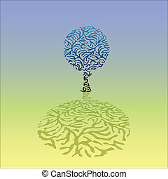 Abstract tree created from the zebra pattern, illustration