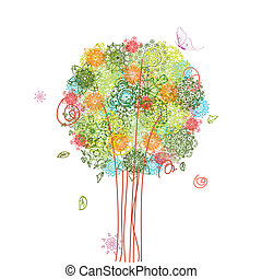 abstract tree design with arabesques