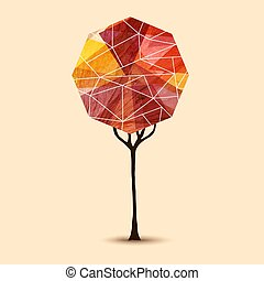 Abstract tree geometric illustration design