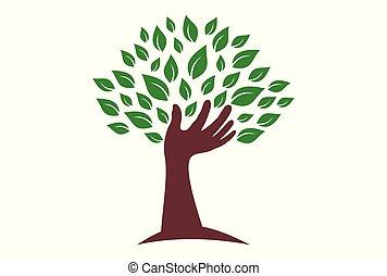 abstract tree hand logo green icon