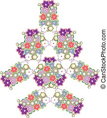 abstract tree made from cute flowers vector background