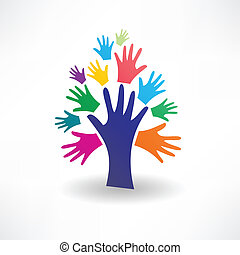 abstract tree of human hands icon