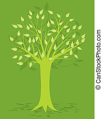 Abstract Tree, On Green Background, Vector Illustration