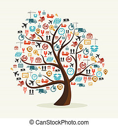 Abstract tree shape colorful shipping icons illustration.