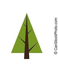 Abstract Tree, Spruce Plant Icon with Brown Trunk - Abstract...