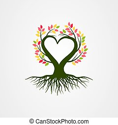 Abstract tree vector illustration with branch heart shaped