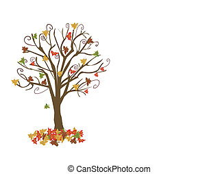 Abstract tree with autumn leaves vector illustration