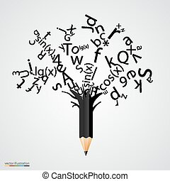 Abstract tree with black letters