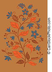 abstract tree with blue flowers and orange leaves for your desig