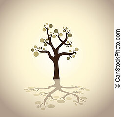 abstract tree with bubbles - illustration