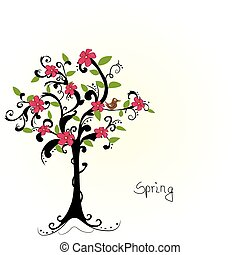 abstract tree with cherry blossoms - vector