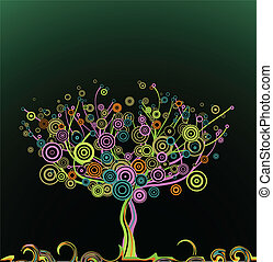 Abstract tree with circle colorful leaves. Vector