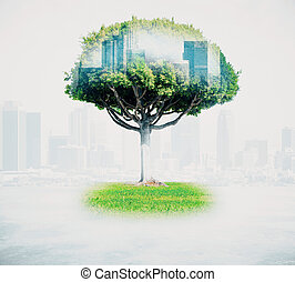 Abstract tree with cityscape