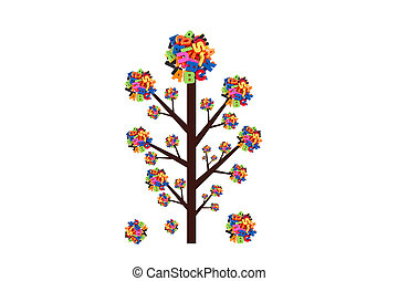 Abstract tree with colorful letters isolated on white background