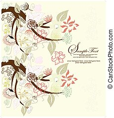Abstract tree with floral elements