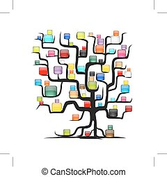 Abstract tree with glossy balls for your design