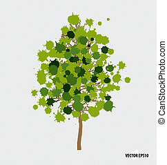 Abstract tree with green leaves on white background.
