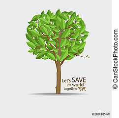 Abstract tree with green leaves. Vector Illustration.