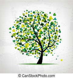 Abstract tree with heart leaf on grunge background for your...