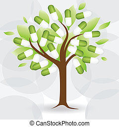Abstract tree with medical pill. Vector Illustration.