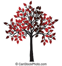 Abstract tree with red leaves