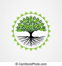 Abstract tree with roots and green leaves. tree with round shape vector illustration.
