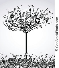 Abstract tree with round leaves. Vector