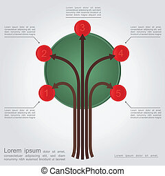 Abstract tree with space for text. Vector