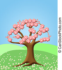 Abstract Tree with Spring Cherry Blossom Flowers