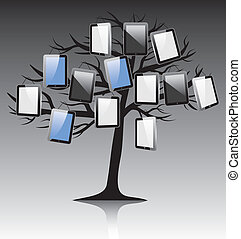 abstract tree with tablet on black white background