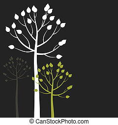 Abstract tree6 - Three trees on a grey background. A vector ...