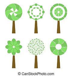 Abstract Trees Isolated On A White Background. Vector Icon Set.