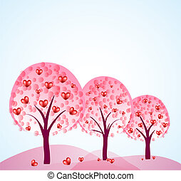 abstract trees with hearts