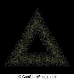 Abstract trendy black background with golden shapes.