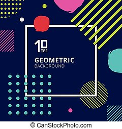Abstract trendy colorful geometric pattern design on blue background.