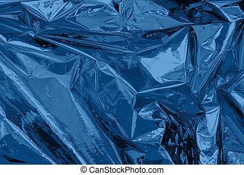 blue colored crumpled foil texture
