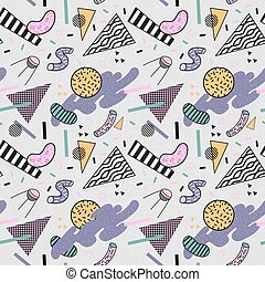 Abstract Trendy Memphis Seamless Pattern. Space Geometric Shapes Background. Retro Vintage Fashion Print 80s 90s. Vector illustration