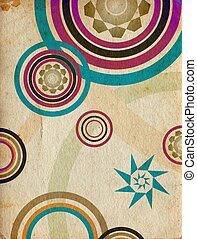 trendy retro circles - Abstract trendy retro circles in...