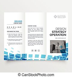 abstract tri-fold business brochure design with blue mosaic effect