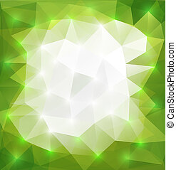 Illustration of abstract triangle background in green and white colors