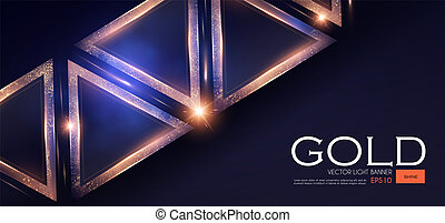 Abstract Triangle Background with Gold Glitter Effect....