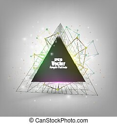 Abstract triangle banner with place for text. Molecule structure background, vector illustration