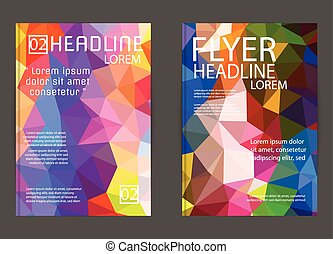 Abstract Triangle Geometric Vector Brochure Template. Flyer Layout. Flat Style. design for print,in A4 size