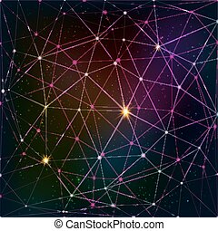 Abstract vector triangle grid on cosmic background