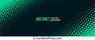 abstract triangle halftone banner in green color